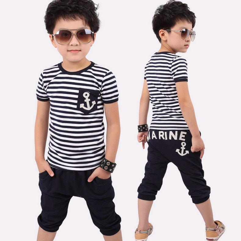 new 2015 clothing set navy stripe anchor set male child baby twinset kids clothes sets kids pants 5set/lot(China (Mainland))