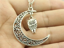 WYSIWYG Women Fashion Harajuku necklace, Crescent Moon with owl charms necklace, 70CM Sweater chain necklace(China (Mainland))