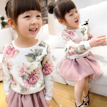 children spring and autumn shirt baby girl clothing full sleeve organza sweatshirt clothes with print big flower hoodies age 3-7(China (Mainland))
