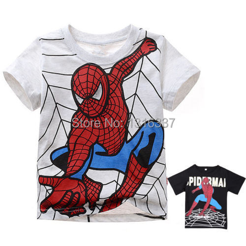 2015 Spiderman Print Kids Short Sleeve T Shirt Infant Boys Girls U-Neck Top(China (Mainland))