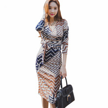 Buy Business 2017 Spring Korean Women Work Sheath Dress Elegant Printed Bow V-Neck Full Sleeve Bodycon Pencil Office OL Dress for $26.97 in AliExpress store