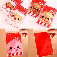 Buy New 100Pcs/Lot Red Christmas Stocking Man Santa Cookie Candy Sweet Party Bags Children Xmas Decoration Gifts for $3.39 in AliExpress store