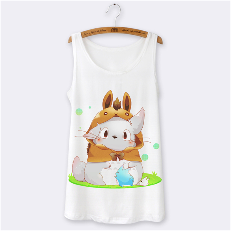 Fashion 2016 Summer Tops totoro cartoon print women t shirt sleeveless o-neck tshirt Female causal white tee femme top - Beshion International Import & Export Co., Ltd store