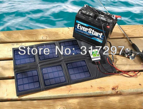 Гаджет  Free Shipping 18 Watt Folding Solar Panel with 10 Amp Controller+12V Car/Boat/Yacht/Jetski Battery Charger+Phone/Laptop Charger None Электротехническое оборудование и материалы