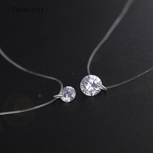 925 Sterling Silver Dazzling Zircon Necklace And Invisible Transparent Fishing Line Simple Pendant 38-40cm Personality Jewelry(China (Mainland))