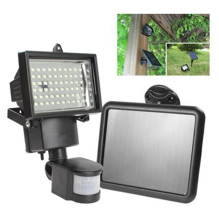 hot Solar Panel LED Flood Security Solar Garden Light PIR Motion Sensor 60 LEDs Path Wall Lamps Outdoor Emergency Lamp(China (Mainland))
