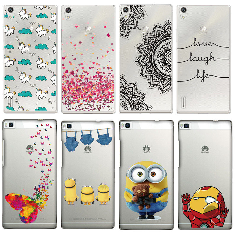 TPU Case For Huawei P7 P8 Unicorn Mandala Minions Love Words Ironman Paint Soft Clear Transparent