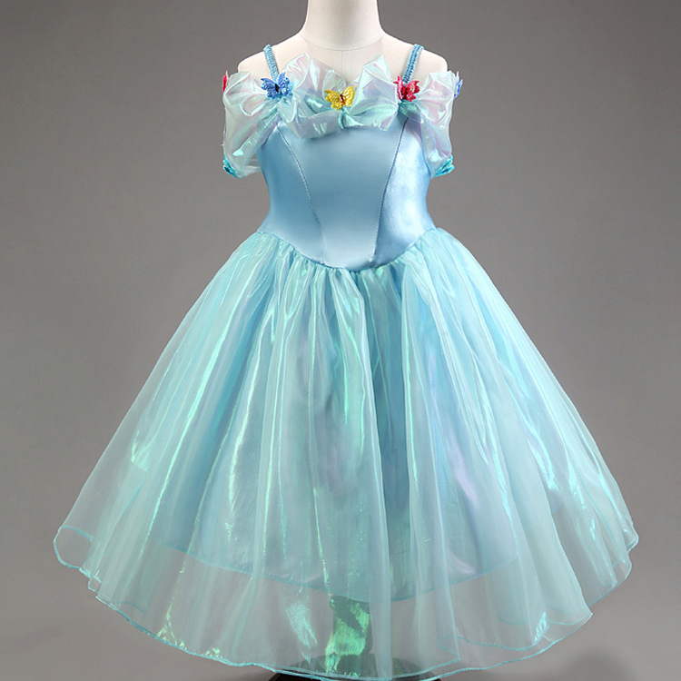 2015 New 3D Butterfly Over Shoulder Girl Cartoon Princess Dresses Sleeveless Prom Gowns Kid Pageant Dress for 2-10 Age girls(China (Mainland))