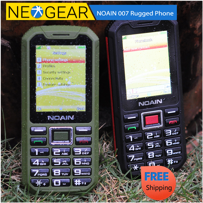 NOAIN 007 Rugged Waterproof Phone - IP67 Rating, Dust Proof, Shockproof, 2.4 Inch Display, Micro SD Card Slot (Green/Red)(China (Mainland))