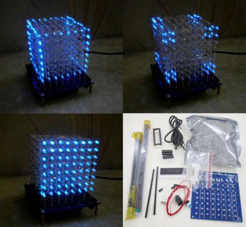 Newbrand 3D 8*8*8 3mm White LED Blue Ray LightSquared DIY Kit Light Cube