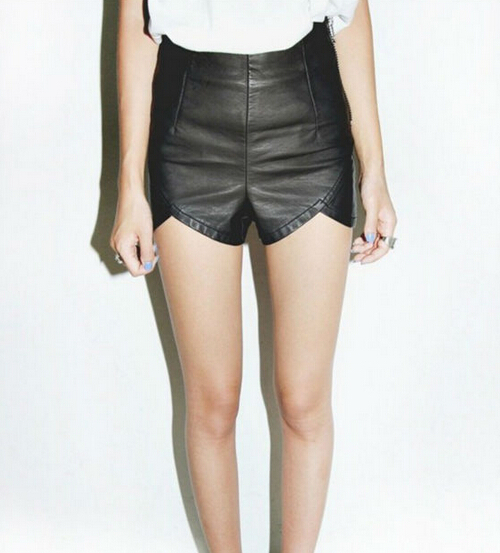2014 New Fashion Women's Slim Black Zipper PU Leather Shorts Casual Boot Plus Size - Lucky Guy store