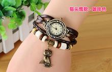 Envío libre – 2015 nueva Vintage cuarzo mujeres se visten Watchs colgante carpintero de cuero sintético reloj