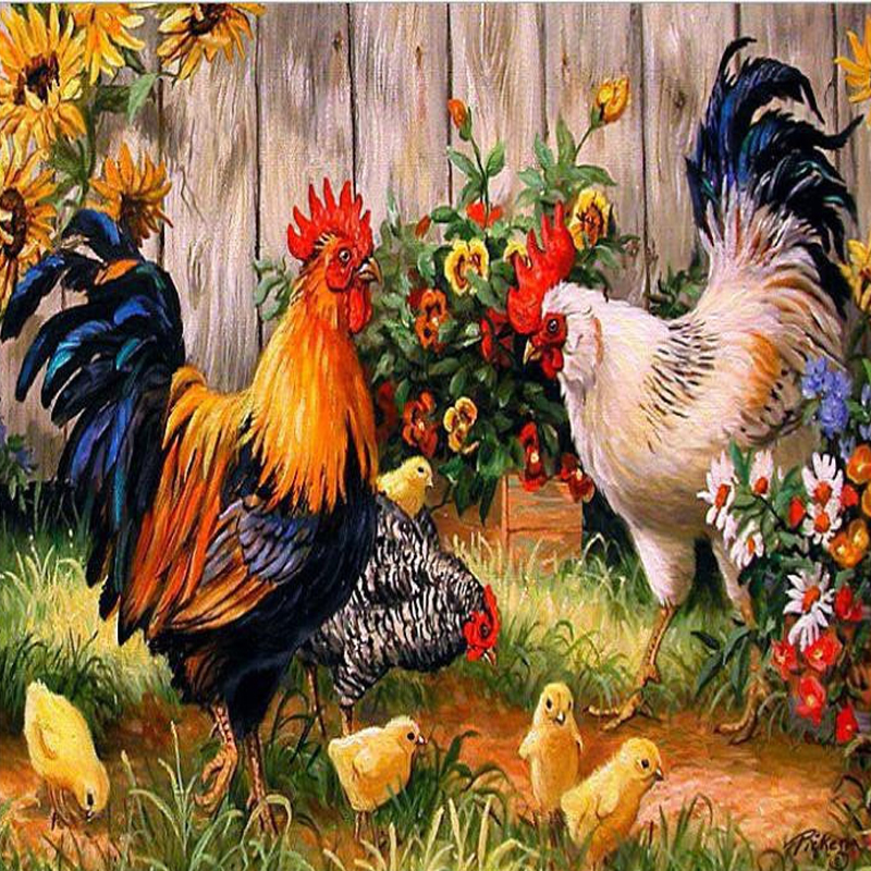 Гаджет  Chickens in the garden Diamond painting Diy Diamond embroidery square drill Diamond mosaic pasted Cross stitch Crafts Needlework None Дом и Сад