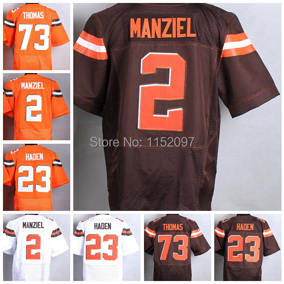 2015 Latest #23 Joe Haden Jersey Men's #73 Joe Thomas Jersey Orange White #2 Johnny Manziel Football Jerseys American(China (Mainland))