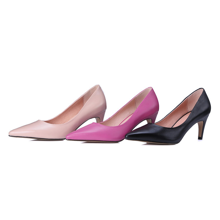 Black rose red pink cowhide leather Fall 2016 shallow high-heeled shoes pointed Toe office lady Pumps for female career shoes