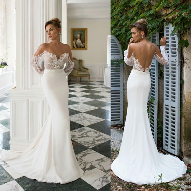 Julie vino 2015 wedding dresses sexy sheer off the for Tight fitted mermaid wedding dresses