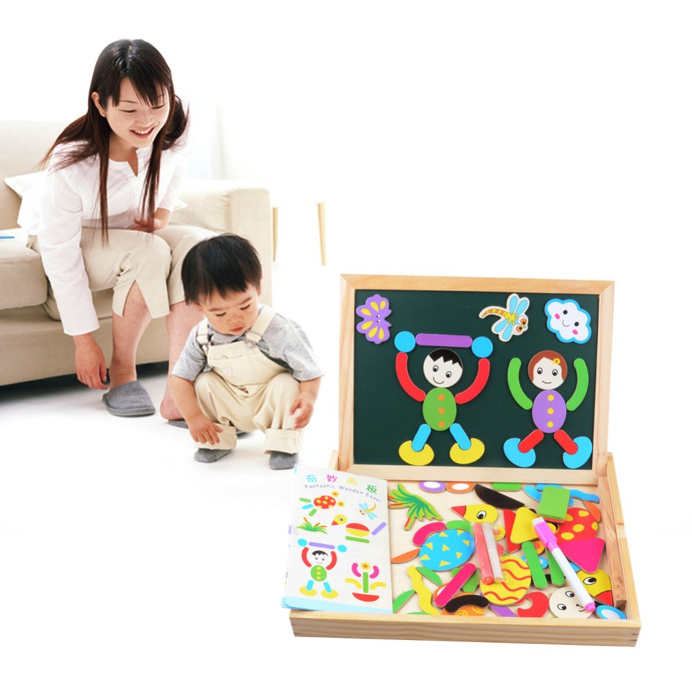 Children Animal Figure Statue Puzzle Wooden Magnetic Drawing Board Fantastic Easel Toys Wooden Magnetic Board Educational Toys