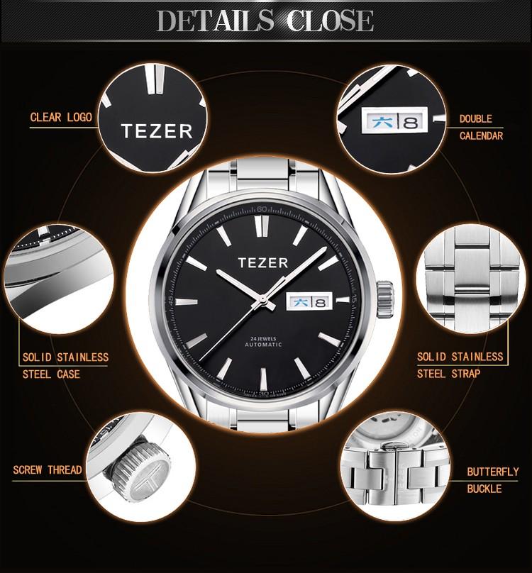 Бесплатная Доставка TEZER Марка Мужчины Бизнес Высокое Качество Полный Нержавеющей Стали Полые Tourbillon Устойчивы Авто Механические Часы T9089