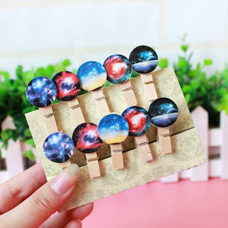 10 pcs/set Starry star wood clip for foto memo paper clips scrapbooking tools stationery Office accessories School supplies 6546(China (Mainland))