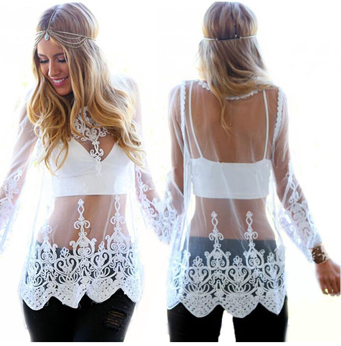 2015 Summer Beach Mesh Cover Ups Pareo Tunic Lace Crochet Hollow Out