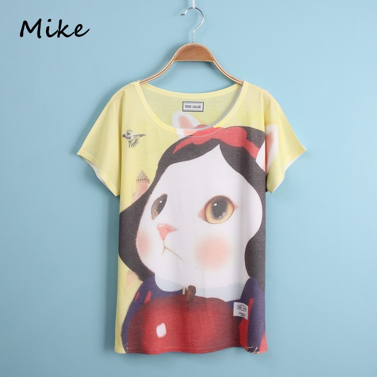 [Mike] New 2015 summer T shirt women style thin free size loose batwing sleeve women's T-shirt loveliness cat print Top Tees(China (Mainland))