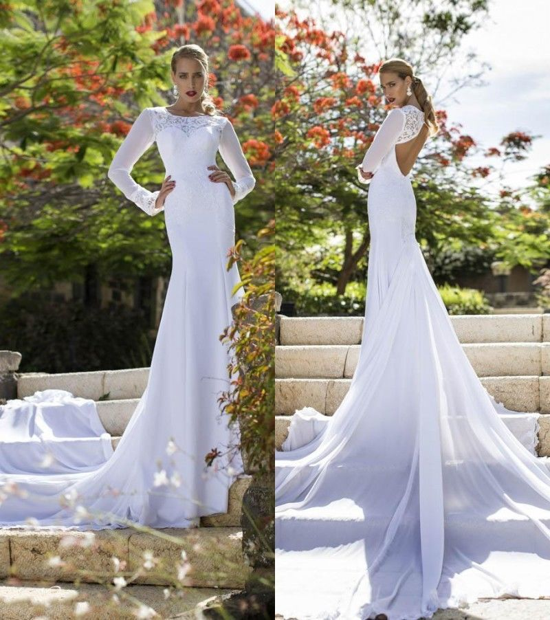 2015 garden sexy scoop neck sheer long sleeve sheath for Scoop neck sheath wedding dress