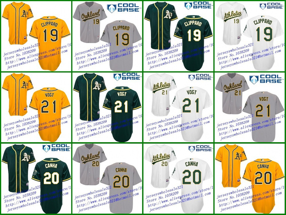 Cheap Mens Oakland Athletics Jersey #19 Tyler CLIPPARD #21 Stephen VOGT #20 Mark CANHA White Green Yellow Gray,Stitched,S~5XL(China (Mainland))