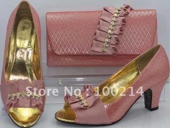 FREE SHIPPING!New arrival and hot-selling italy fashion matching shoe and bag set ,PEACH,Size41,43,SB8690
