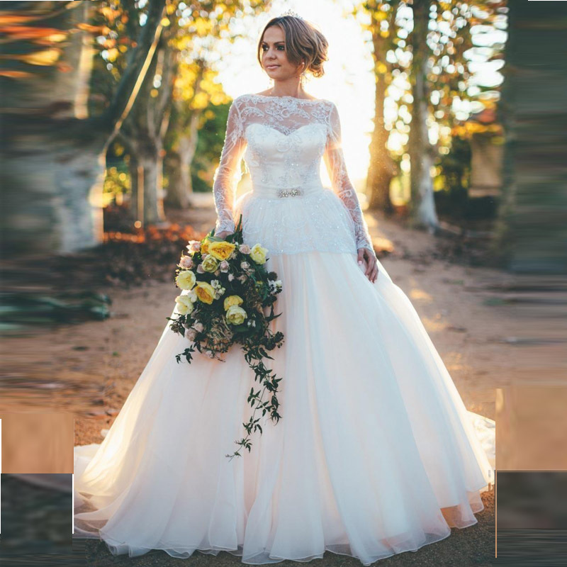 Back open sexy princess wedding dresses with long sleeves for Current wedding dress styles