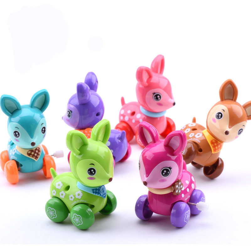 2015 wind up toy funny baby Zoo, Baby deer design Running Clockwork Spring Toy newborn baby clockwork toy VBA53 P<br><br>Aliexpress