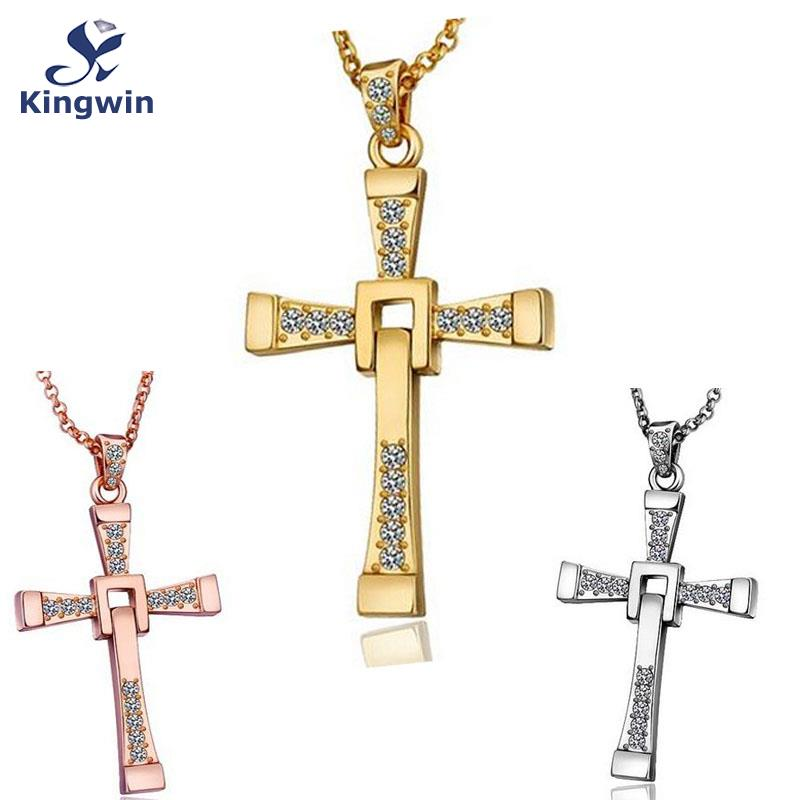 Film star Fine 18k gold plated fast and furious dominic toretto cross pendant necklace cz diamond Christian religious jewelry(China (Mainland))