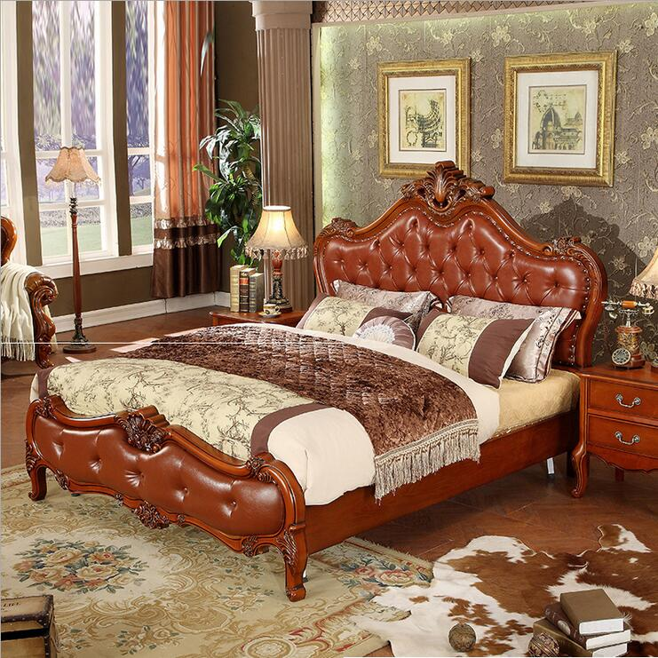modern european solid wood bed Fashion Carved leather french bedroom furniture o10235(China (Mainland))