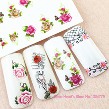 5 pcs New Japan Styles Watermark Beauty Flower with Bow Decals Nail Art Stickers DIY Manicure Water Transfer Foils BLE1770-1632