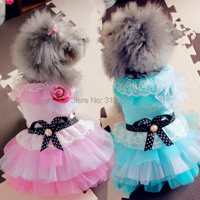 2015 Hot Dog Dresses Pink Blue Purple Rose Lace Wedding Party Bows Summer Spring Pet Clothes For Puppy Animals Yorkshire Goods(China (Mainland))