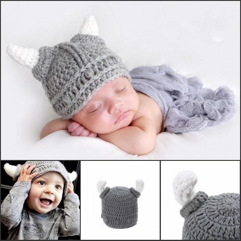 Newborn baby Infant handmade crochet hat winter viking hat baby girl knitted handmade horn cap crochet baby boy hat(China (Mainland))