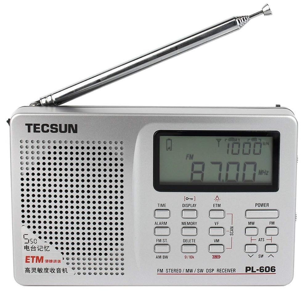 New Radio TECSUN PL-606 DSP Radio FM Stereo/MW/SW/LW Radio Receiver with ETM ATS Alarm Silver Y4121D