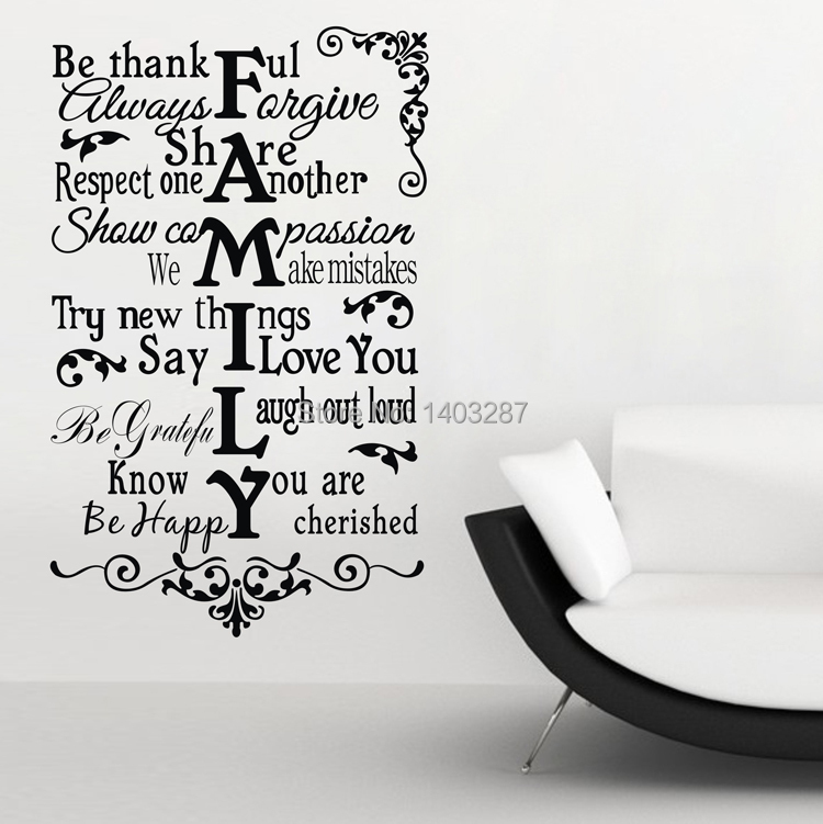 Family Be Thankful Fine Quality Vinyl Black Wall Sticker Quotes Living Room Bedroom Sentences Decor 55x80cm(China (Mainland))