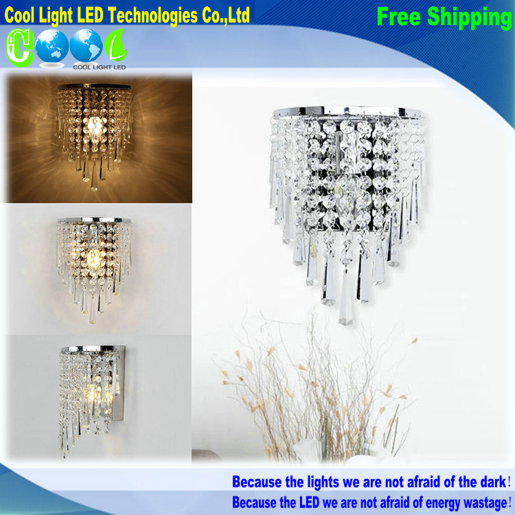 High-quality E14 base stainless steel K9 Crystal Wall modern minimalist bedroom bedside lamp lighting(China (Mainland))
