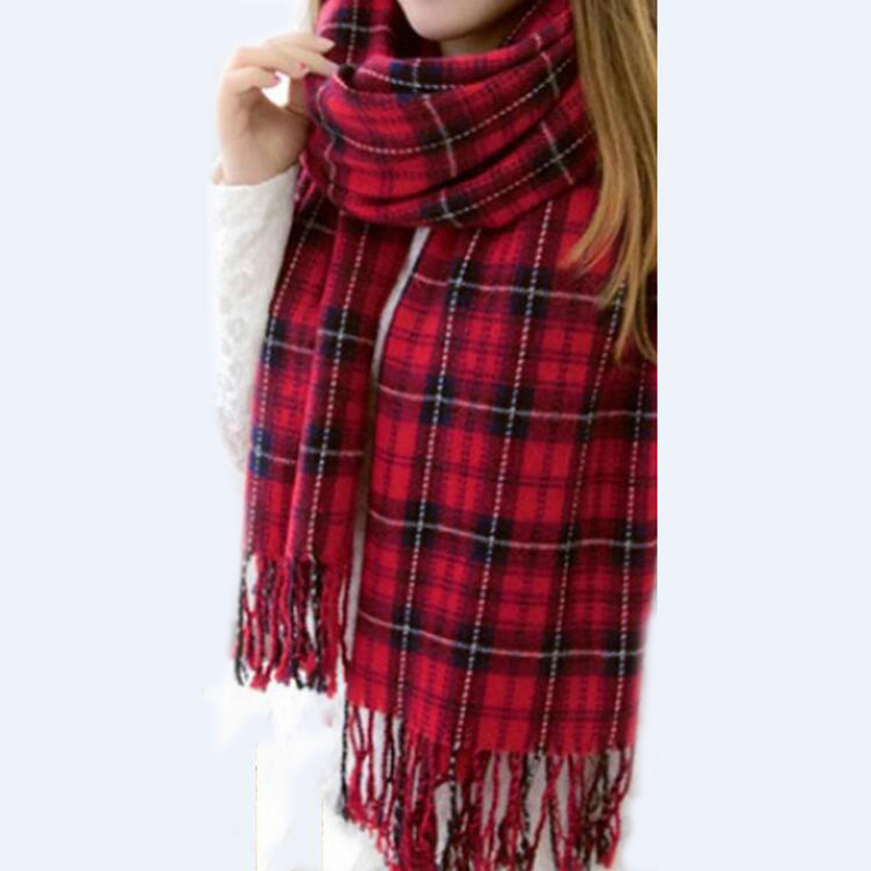 8 Color Fashion Womens Scarf Long Fashion Casual Warm Cashmere Shawl Plaid Infinity Scarf Knitted Scarf Women Winter Scarves Hot(China (Mainland))