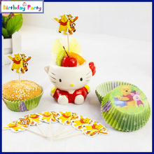 48Pcs Winnie the Pooh  paper cupcake cases and Toothpick toppers for kids birthday party decoration Event Party Supplies(China (Mainland))