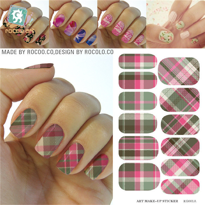 white pink plaid design Water Transfer Nails Art Sticker decals lady women manicure tools Nail Wraps Decals K5601B - Guangzhou Alison International Trade Co.,Ltd. store
