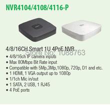 DAHUA 4ch/8ch/16ch Smart 1U POE NVR with P2P Function DAHUA Mini NVR NVR4104-P/NVR4108-P/NVR4116-P(China (Mainland))