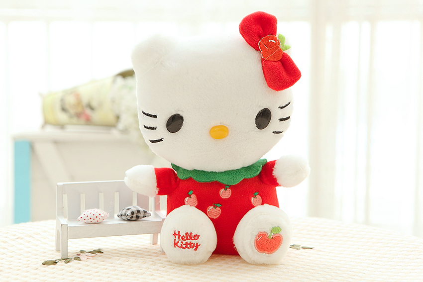 Free shipping hello kitty plush toy mini size 20cm fruit style kitty soft stuffed toy 5pieces/lot 4color to choose(China (Mainland))