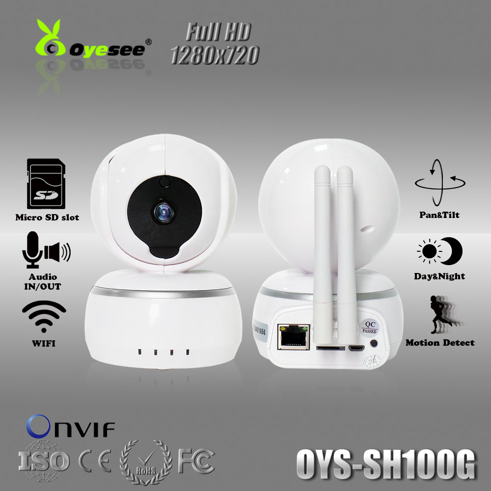 720P Smartlink wifi IP camera with Two Antenna Day&Night Pan&Tilt Motion detect Audio 128G MicroSD Onvif 433mhz frequency(China (Mainland))