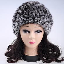 Роскошные осень зима женская подлинная настоящее трикотажные рекс кролика меховые шапки ручной леди теплый печатные шапки шапочки головные уборы