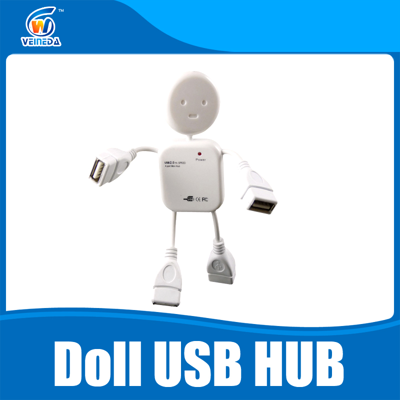 USB 2.0 Hub 4 Ports Portable Doll USB Hub 480 Mbps Mini High Speed Hub USB Splitter Adapter For PC Laptop(China (Mainland))
