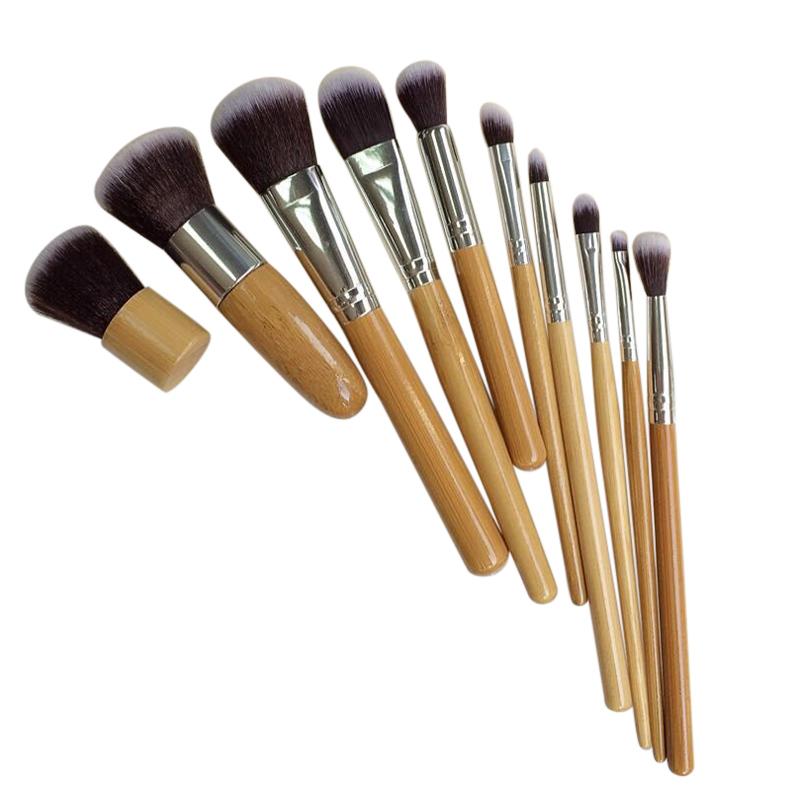 10 PCS Professional Cosmetic Brush Set Bamboo Handle Synthetic Makeup Brushes Kit Portable Make Up Brush Set Tools(China (Mainland))