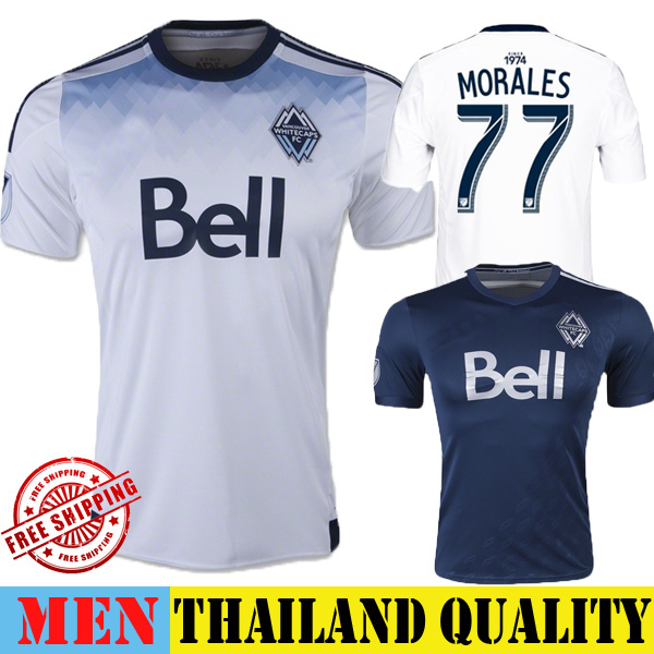 New Vancouver Whitecaps Jersey 2015 Home White 77 MORALES Soccer Jersey 15 16 Away Blue Vancouver Football Shirt Training MLS(China (Mainland))
