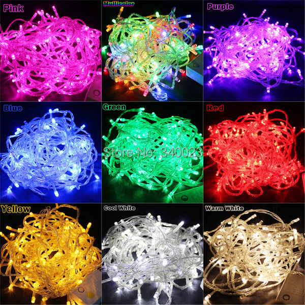 Hot Sale 100 LED 10M String Light Christmas/Wedding/Party Decoration Lights Lighting AC 110V 220V , Waterproof , 9 Colors(China (Mainland))