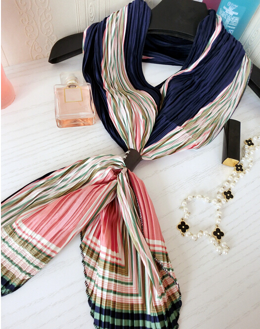 New arrival design long scarf pleated print all-match cravat female vintage small leather buckle on crumple silk scarf t(China (Mainland))